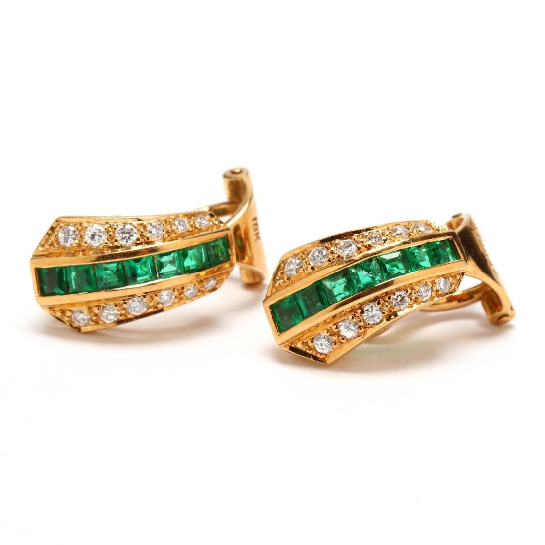 18KT Diamond and Emerald Earrings