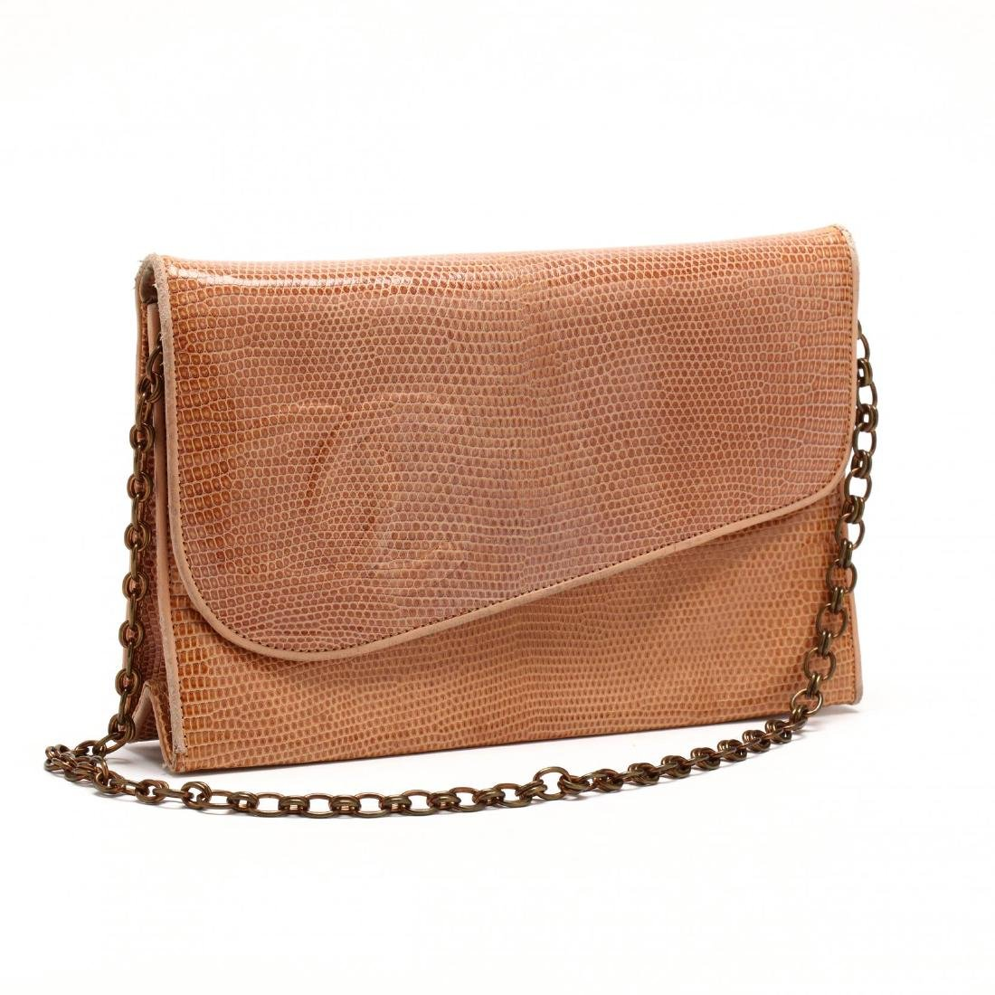 Vintage Lizard Skin Diagonal Front Flap Bag, Chanel