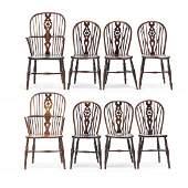 Set of Eight English Wheel Back Windsor Chairs