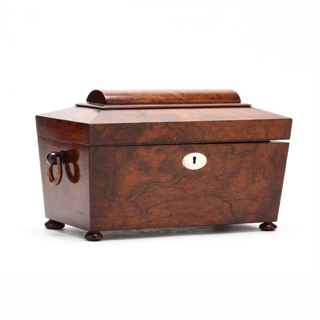A William IV Rosewood Veneer Tea Caddy