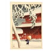 Shiba Zojo Temple in the Snow by Hasui Kawase