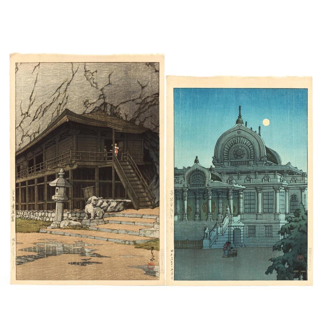 Two Japanese Woodblock Prints by Hasui Kawase