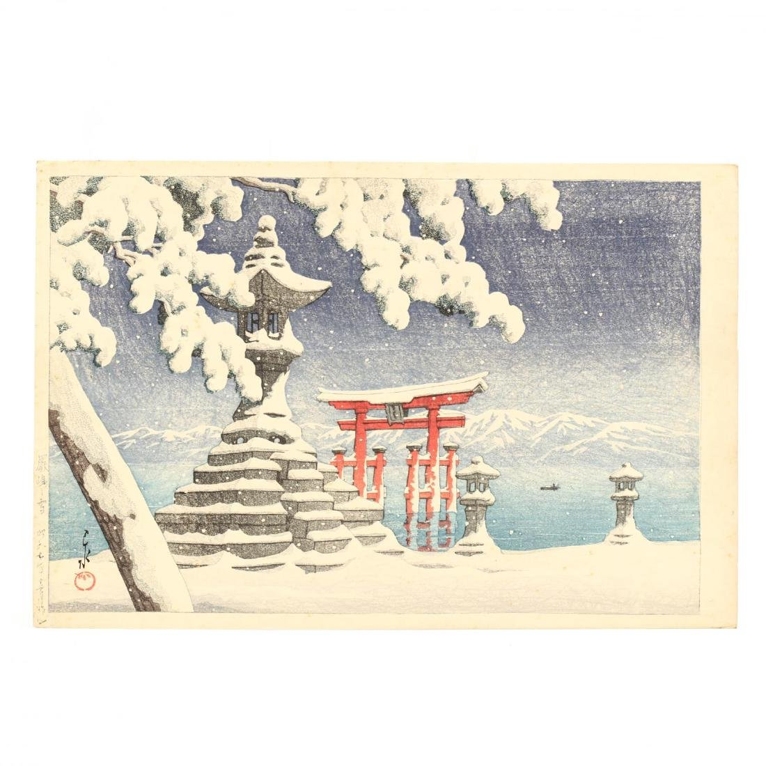 Snow at Itsukushima  by Hasui Kawase (Japanese,