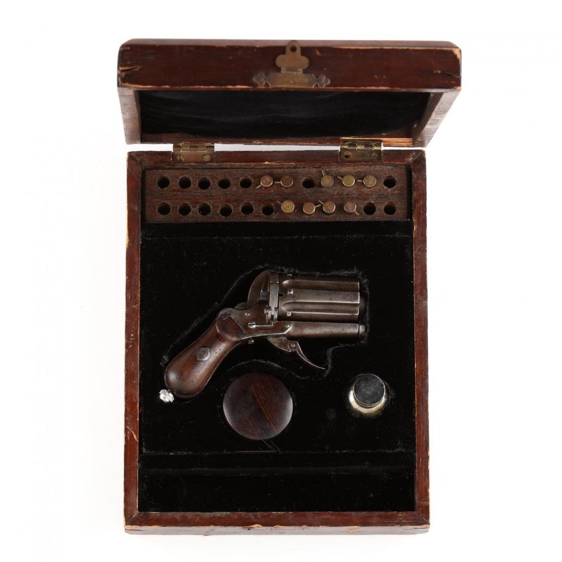 Cased Belgian Pinfire Double Action Revolver