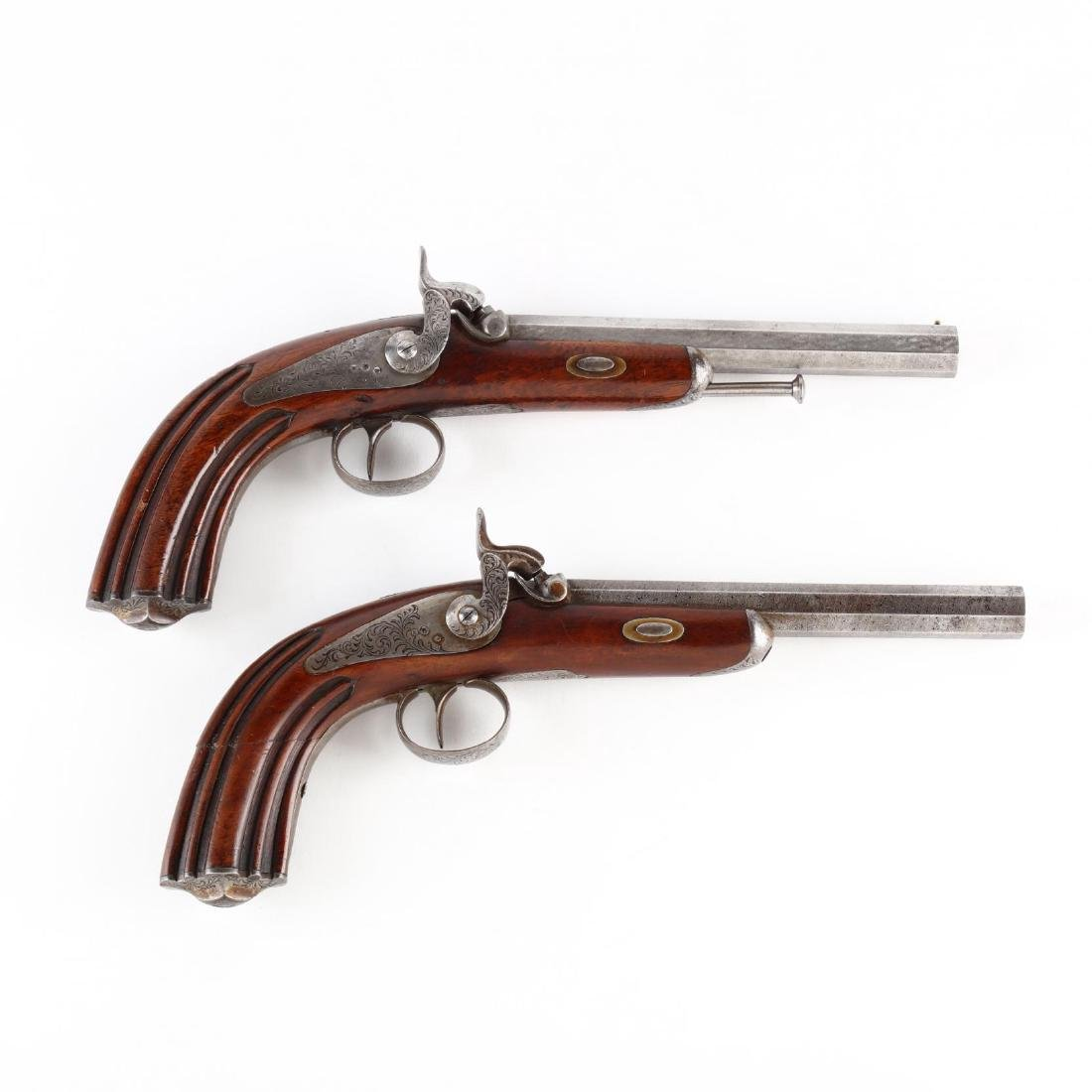 Matched Pair of Continental Percussion Dueling Pistols