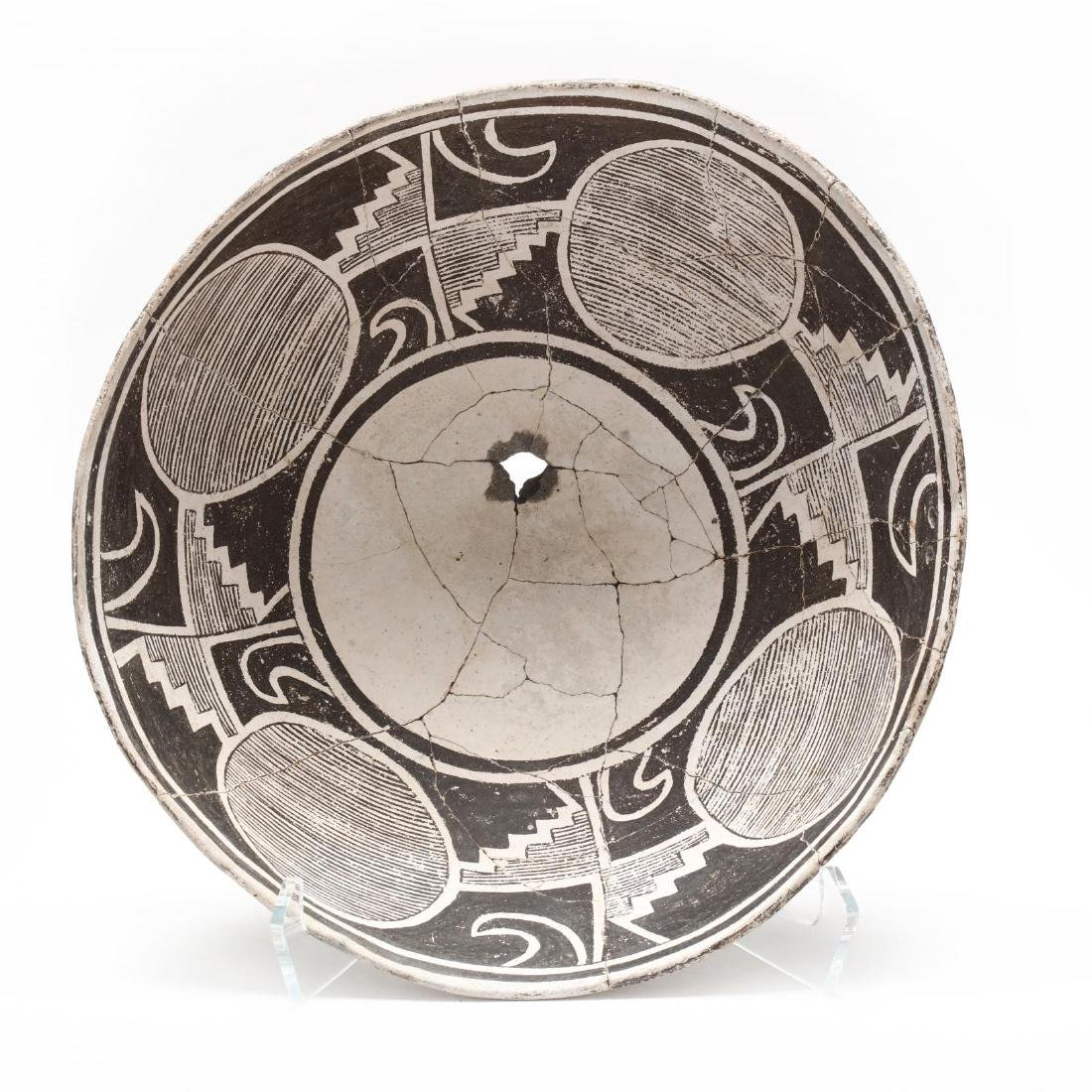 Mimbres Pottery Black on White Painted Bowl
