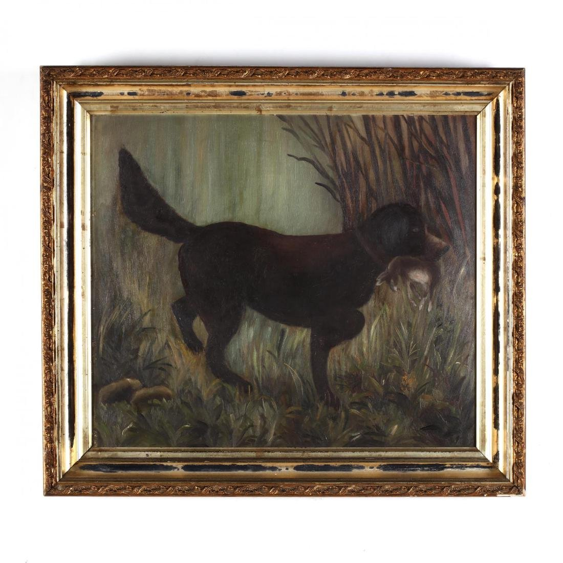 An American Folk Art Painting of a Hound with Hare