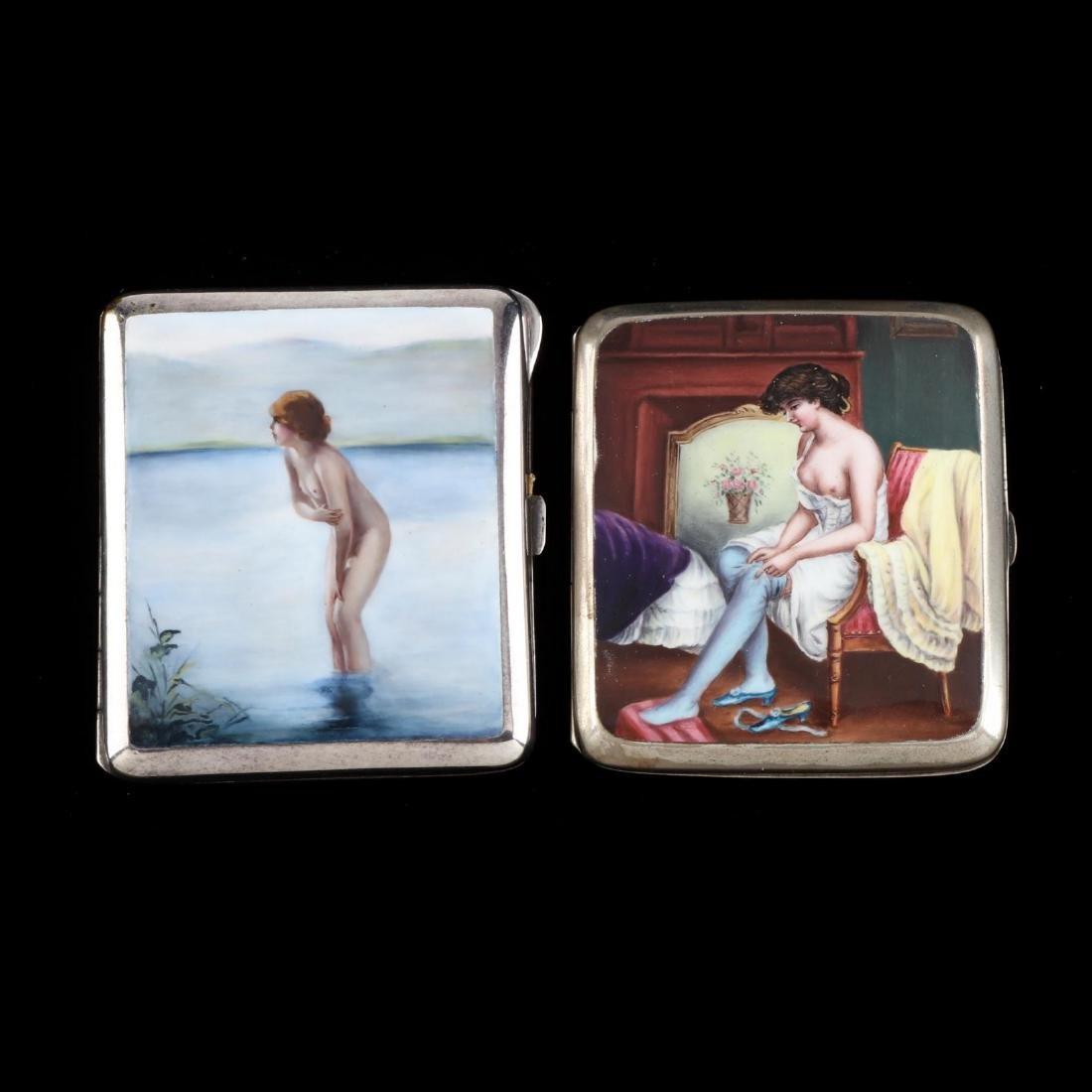 Two Antique Enameled Silver Cigarette Cases