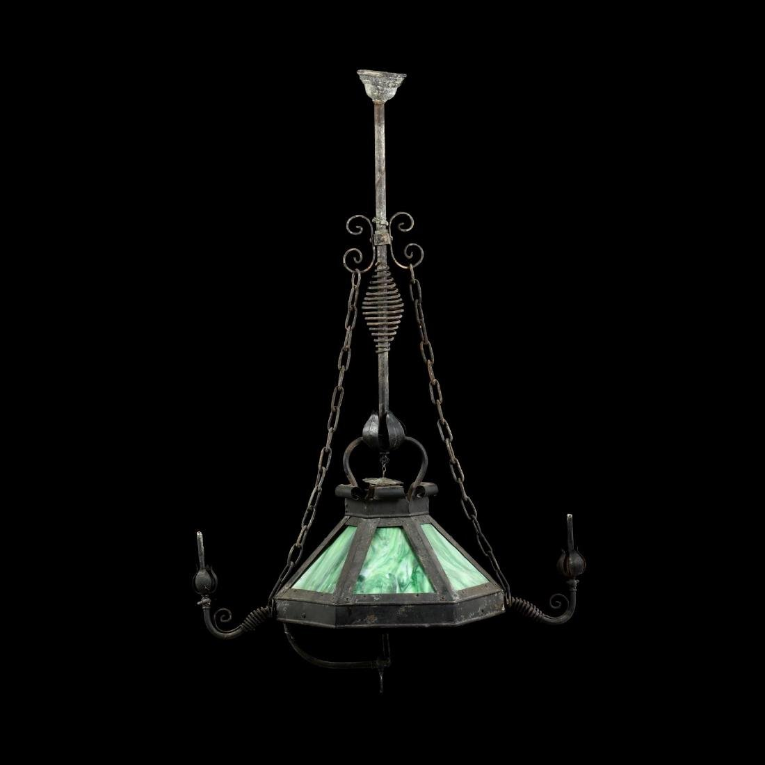 Antique Gas Lit Slag Glass Hanging Light - 3