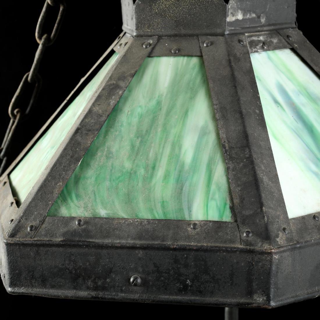 Antique Gas Lit Slag Glass Hanging Light - 7