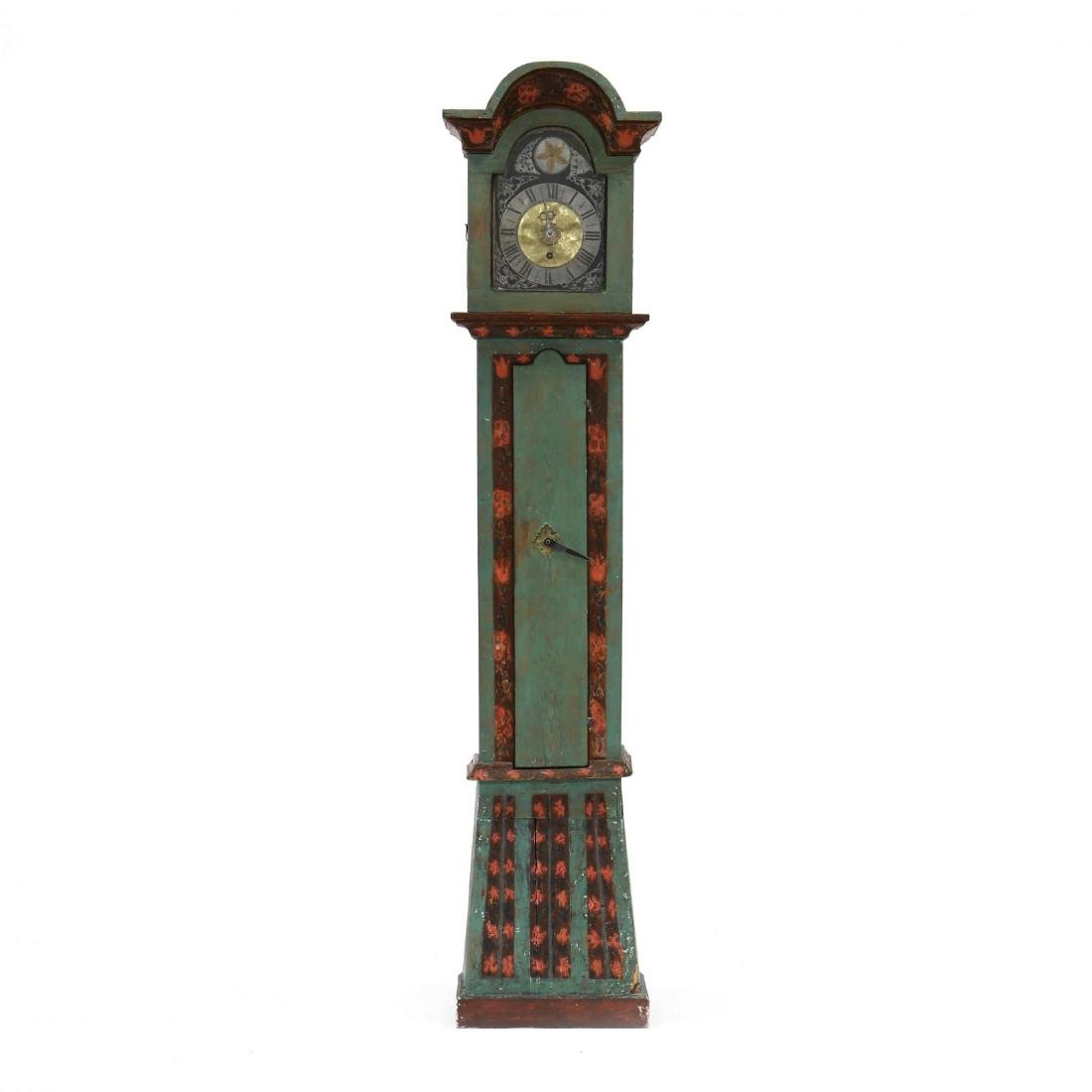 Swedish Paint Decorated Tall Case Clock