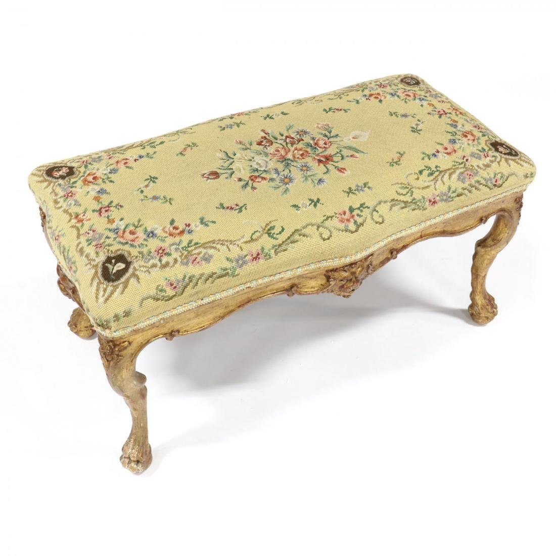 Continental Carved and Gilt Needlepoint Bench - 2