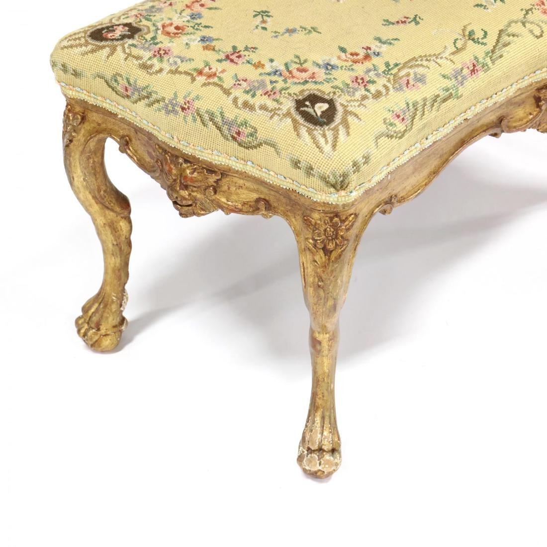 Continental Carved and Gilt Needlepoint Bench - 3