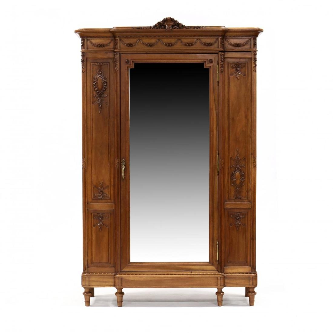 French Classical Style Carved Walnut Armoire