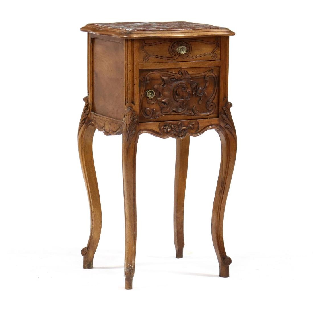 French Provincial Carved Walnut Marble Top Smoking