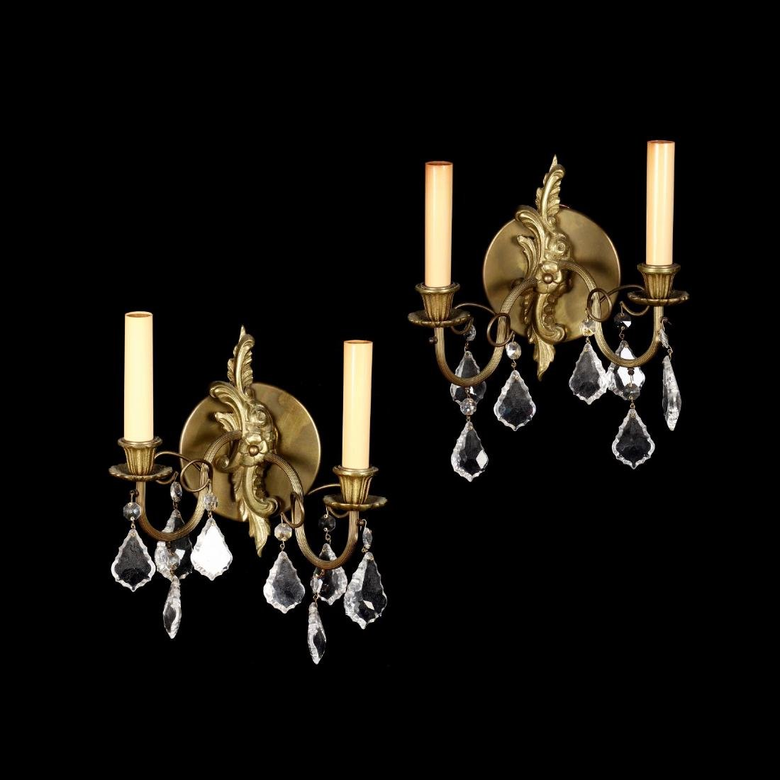 Pair of French Rococo Style Drop Prism Wall Sconces