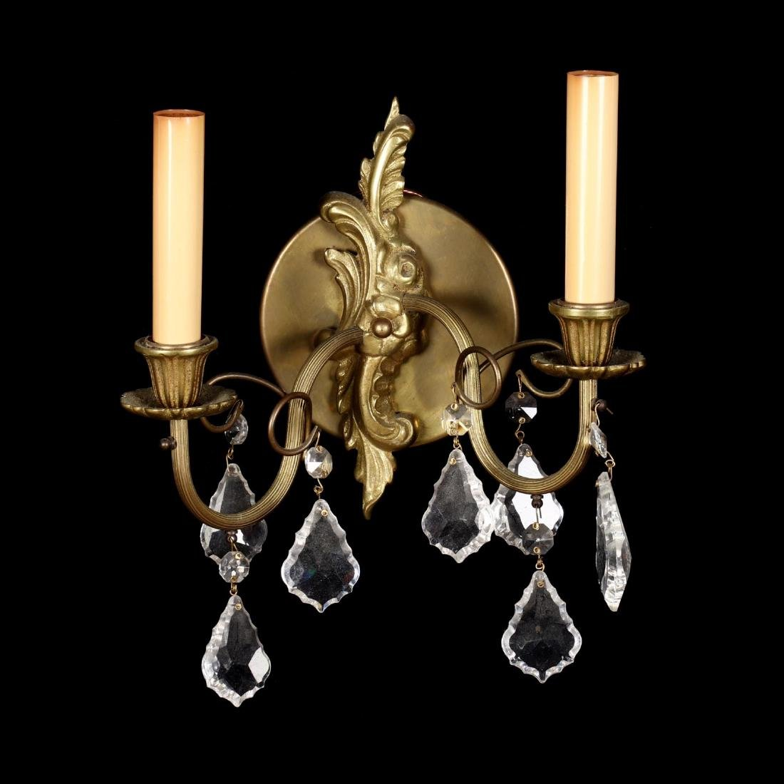 Pair of French Rococo Style Drop Prism Wall Sconces - 2