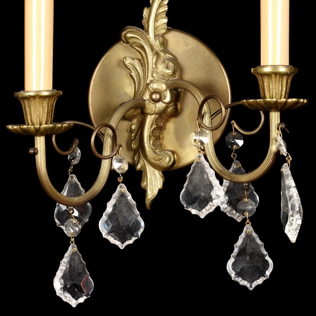 Pair of French Rococo Style Drop Prism Wall Sconces - 3