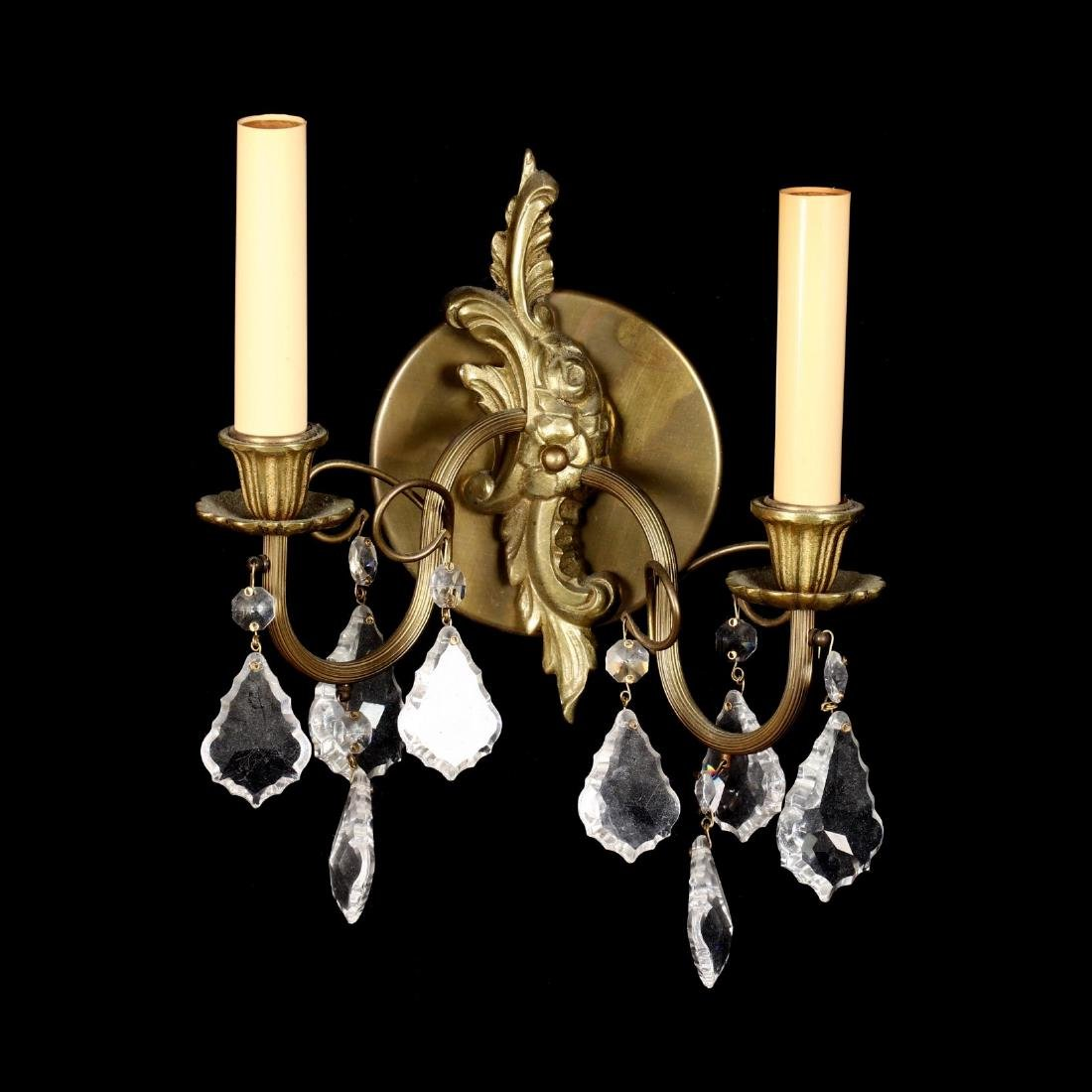 Pair of French Rococo Style Drop Prism Wall Sconces - 6