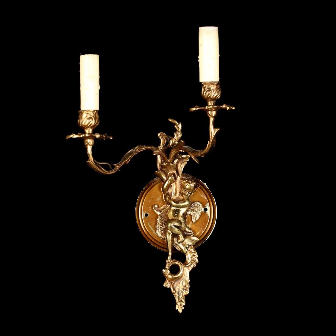 Pair of French Baroque Style Figural Wall Sconces - 5