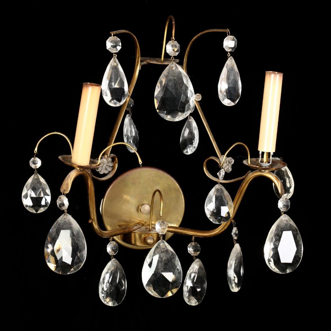 Pair of Italianate Brass and Drop Prism Wall Sconces - 3