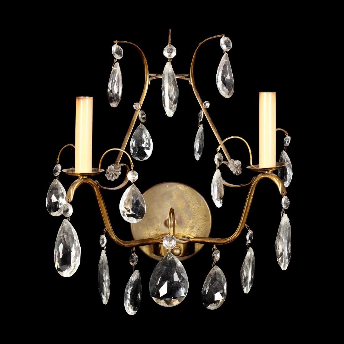 Pair of Italianate Brass and Drop Prism Wall Sconces - 5