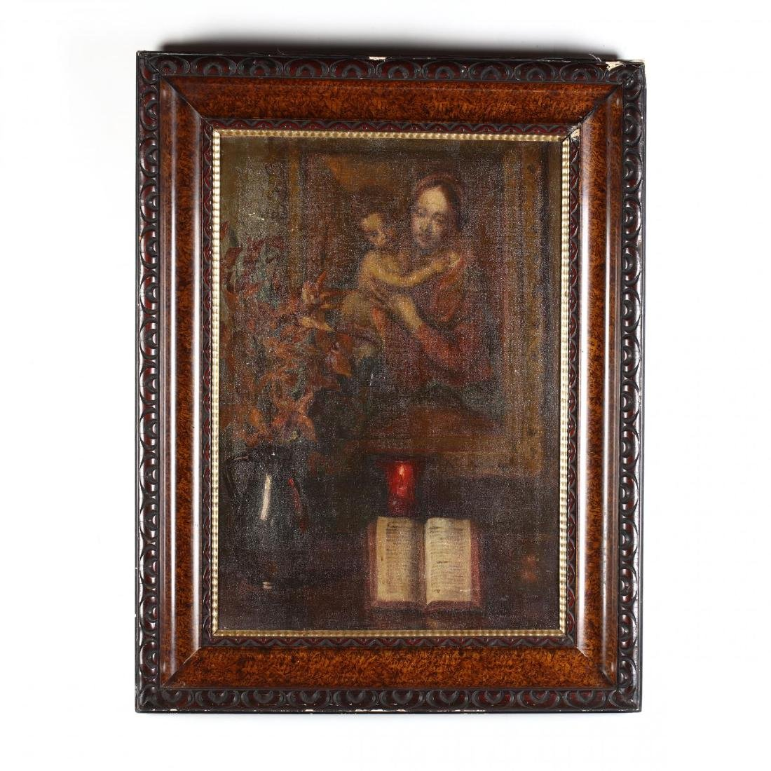 An Antique Painting of an Interior with Shrine