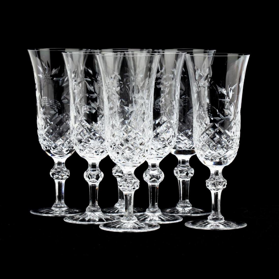 Wedgwood, Set of Seven Cut Glass Wine Stems