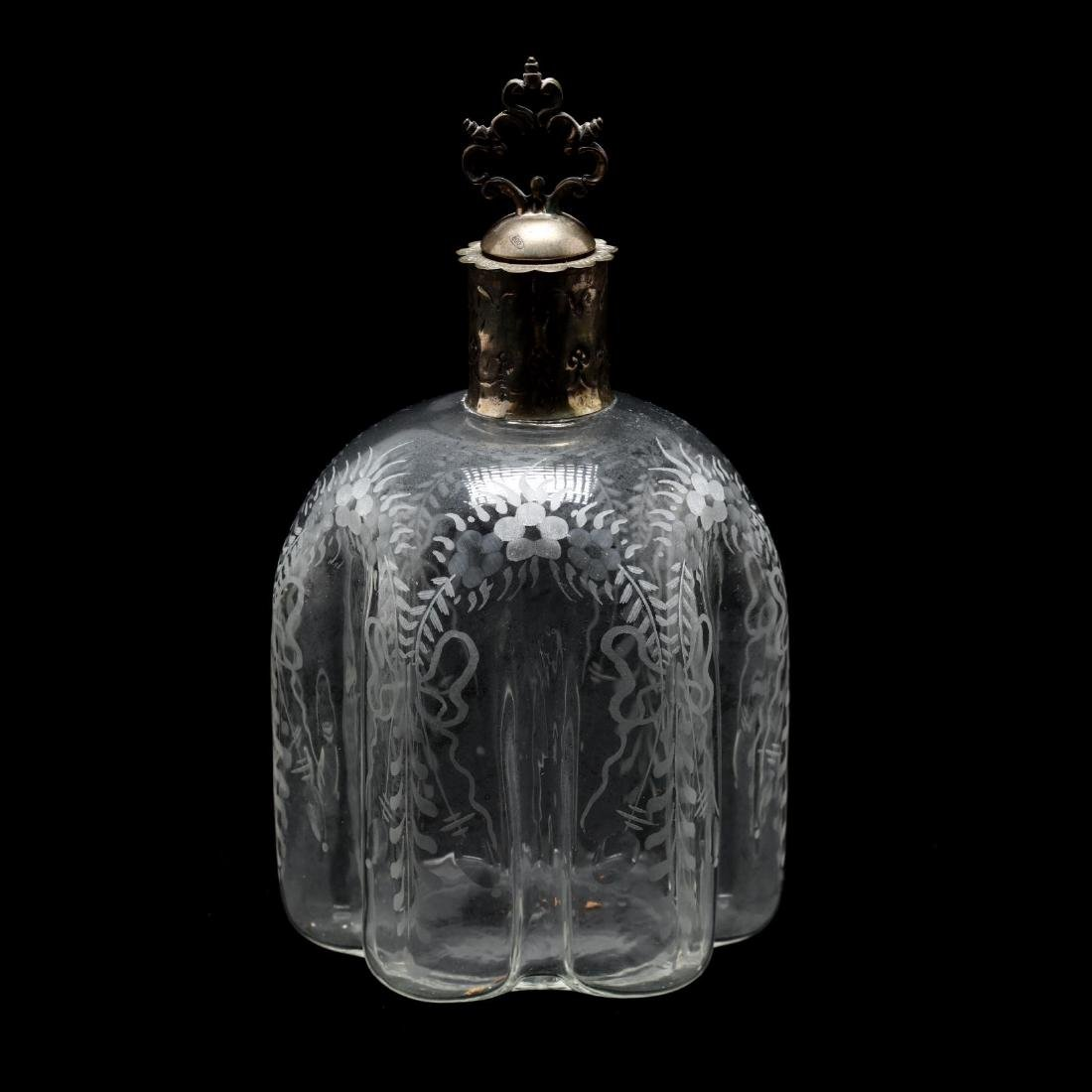 Vintage German Silver and Cut Glass Decanter