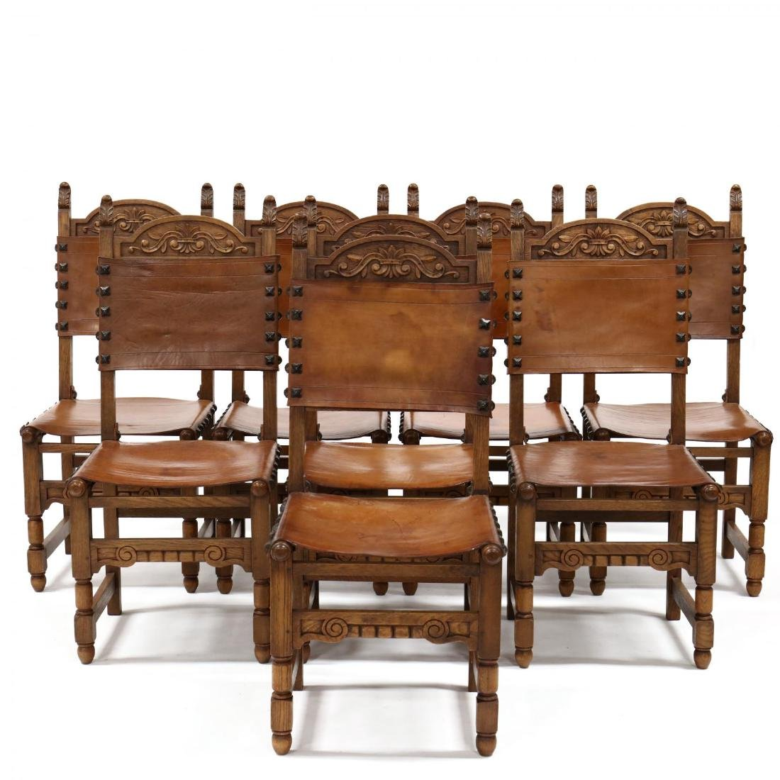 Set of Eight Spanish Renaissance Style Carved Oak and