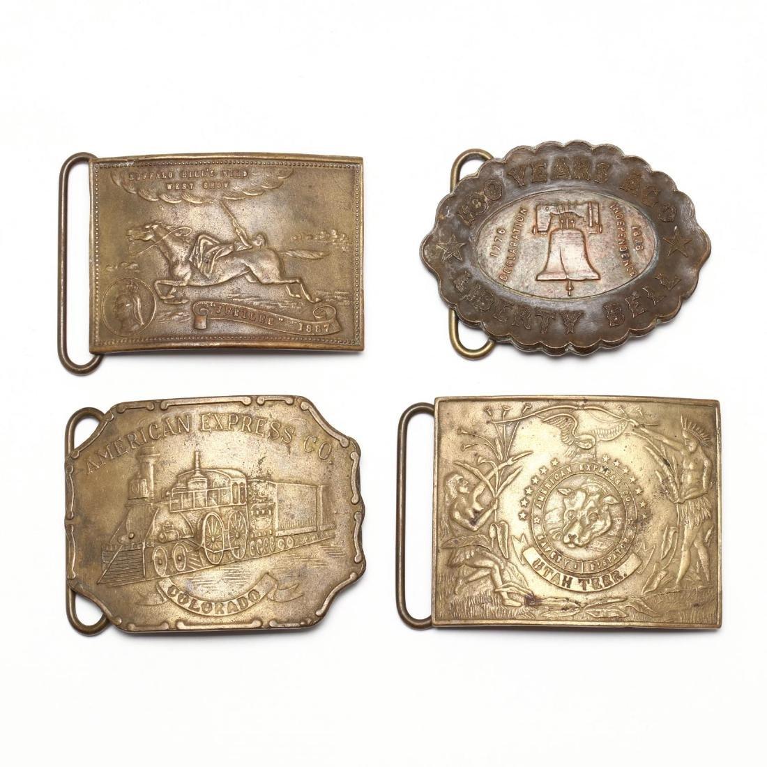 Four Antique Belt Buckles, Including Tiffany