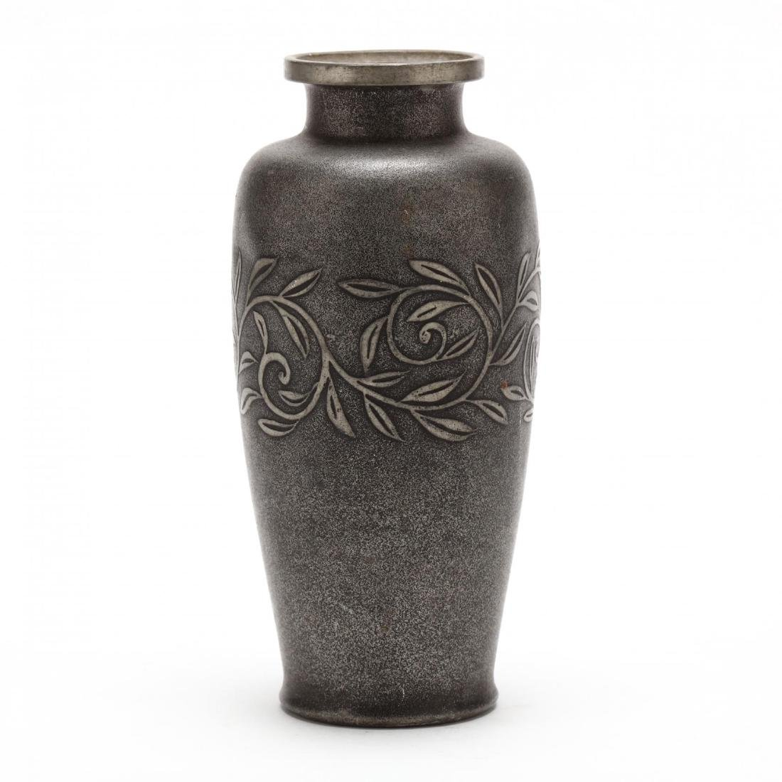 An Asian Pewter Vase with Vine Decoration - 3