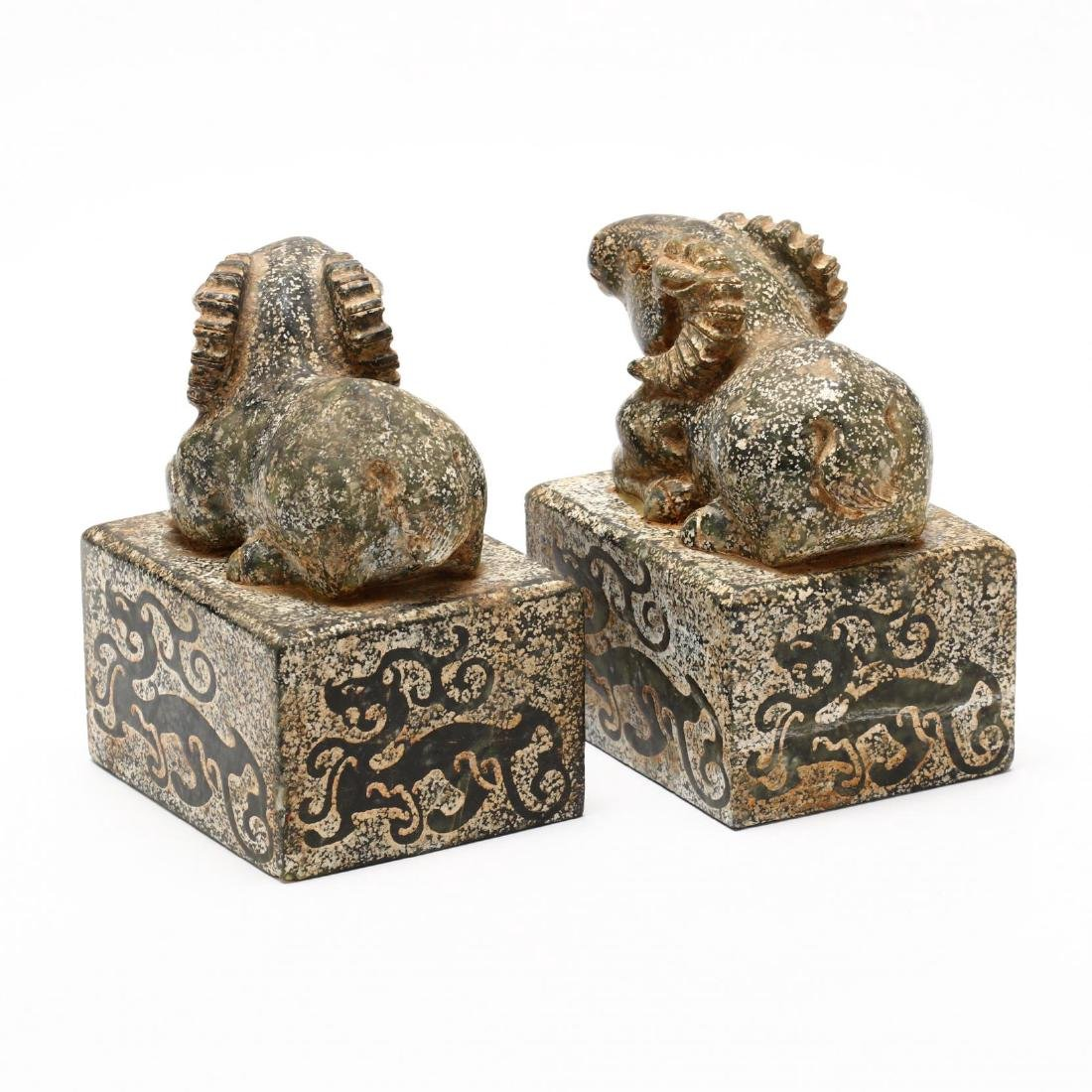 A Pair of Chinese Ram Stone Seals - 10