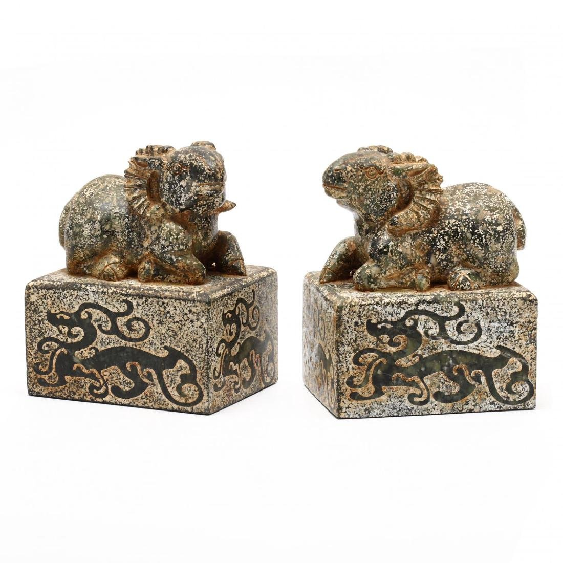 A Pair of Chinese Ram Stone Seals