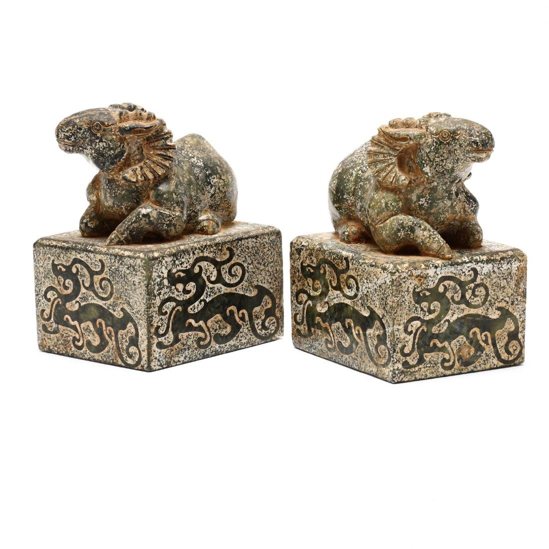 A Pair of Chinese Ram Stone Seals - 2