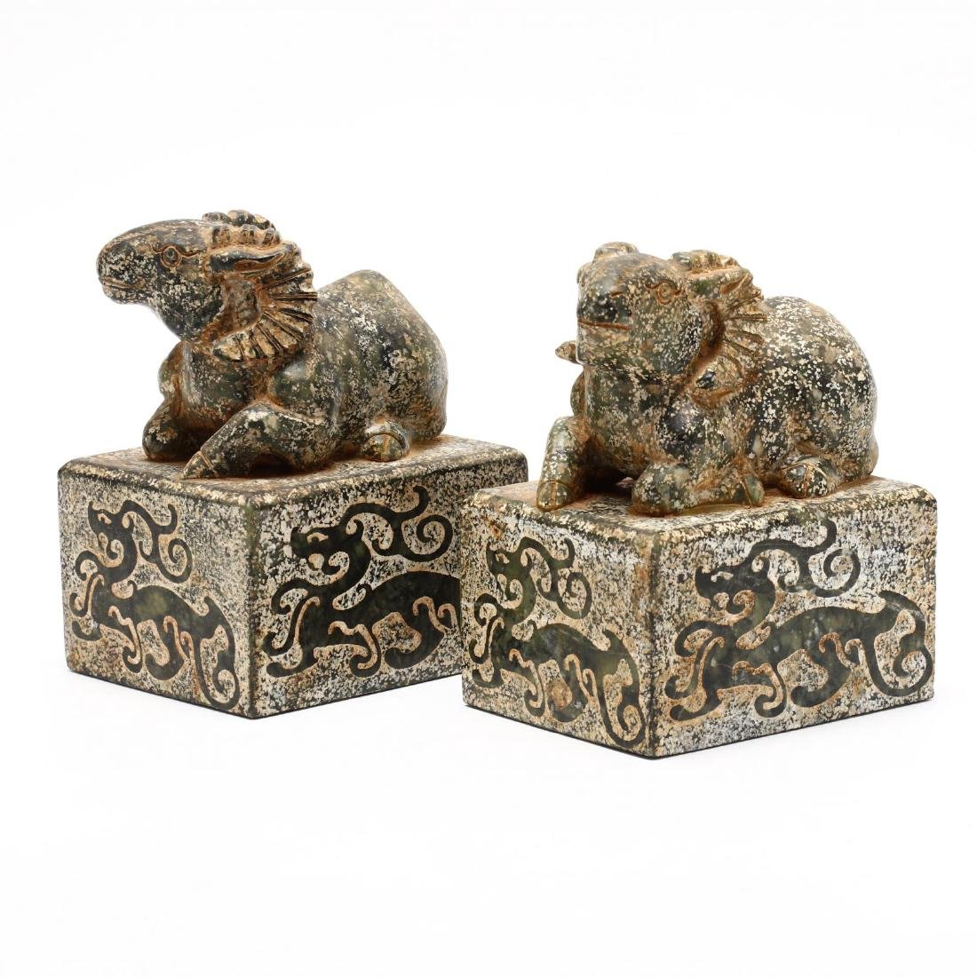 A Pair of Chinese Ram Stone Seals - 3
