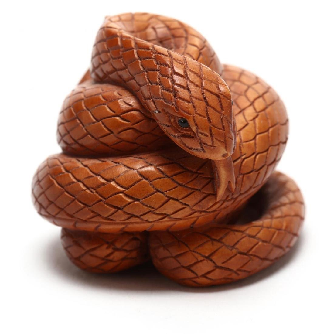 A Japanese Wood Carved Snake Netsuke - 2