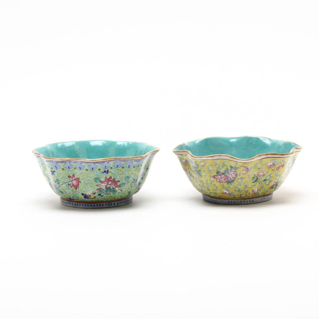 A Matched Pair of Chinese Porcelain Scalloped Bowls