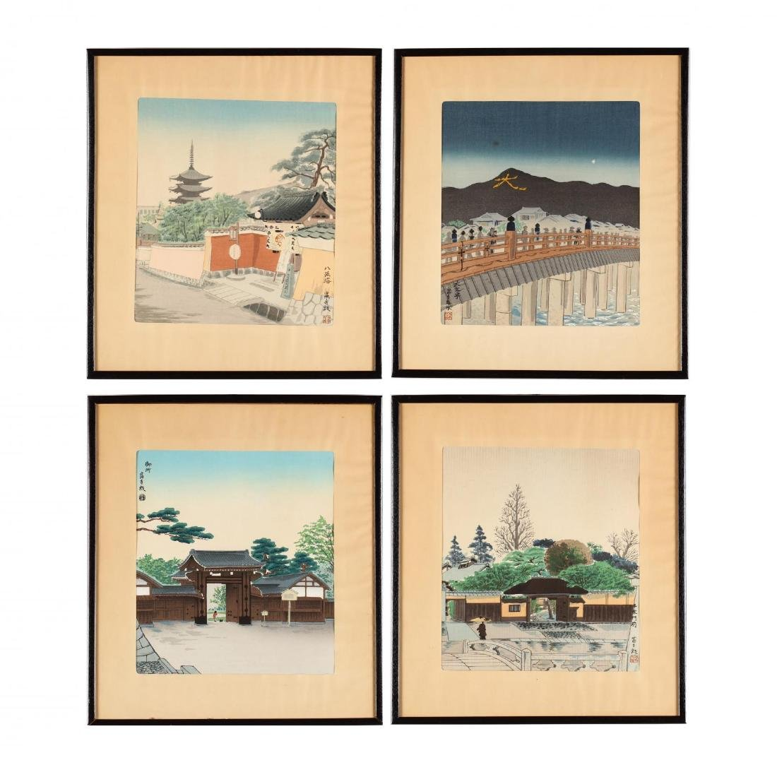 Four Woodblock Prints from  Thirty Views of Kyoto