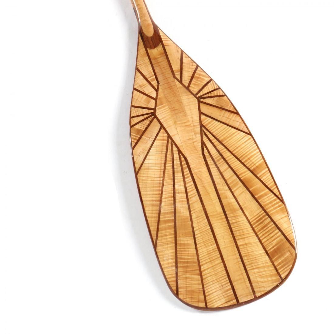 Two Artisan Inlaid Canoe Paddles - 2
