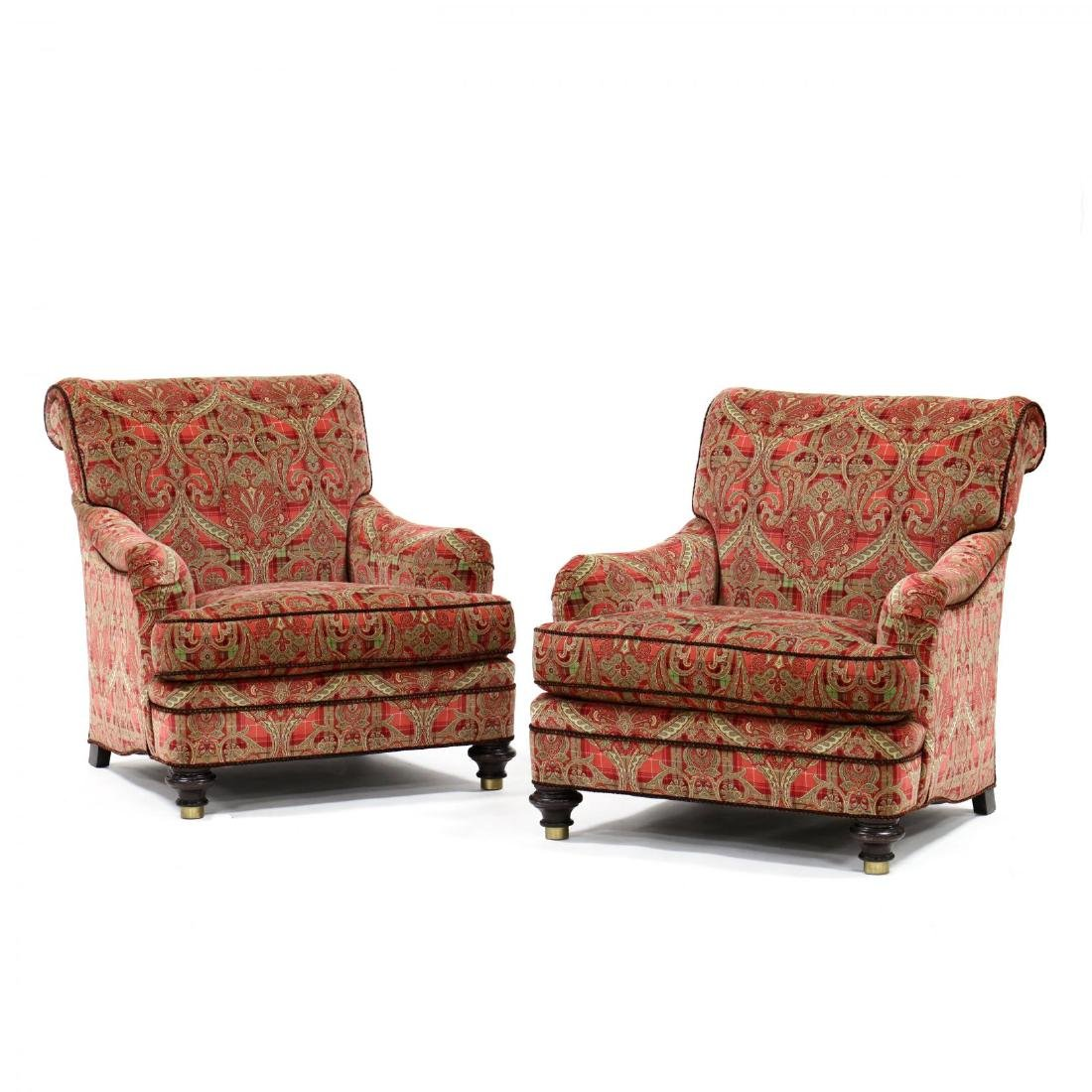 Hickory Chair Co., Pair of Scalamandre Upholstered Club