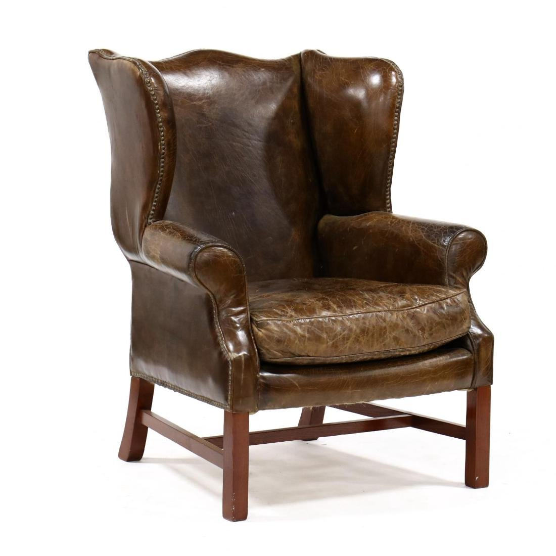 Chippendale Style Distressed Leather Wing Back Chair