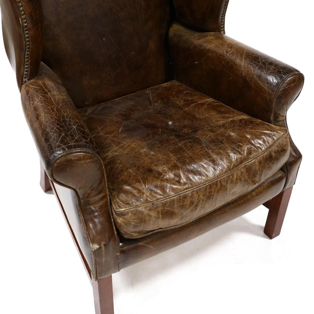 Chippendale Style Distressed Leather Wing Back Chair - 2