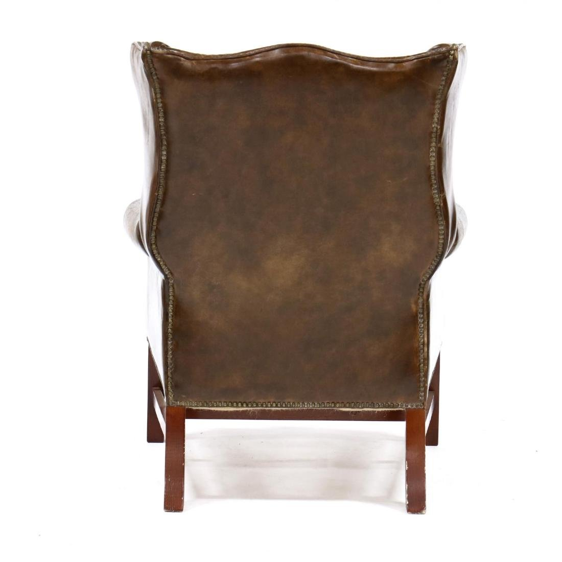 Chippendale Style Distressed Leather Wing Back Chair - 3