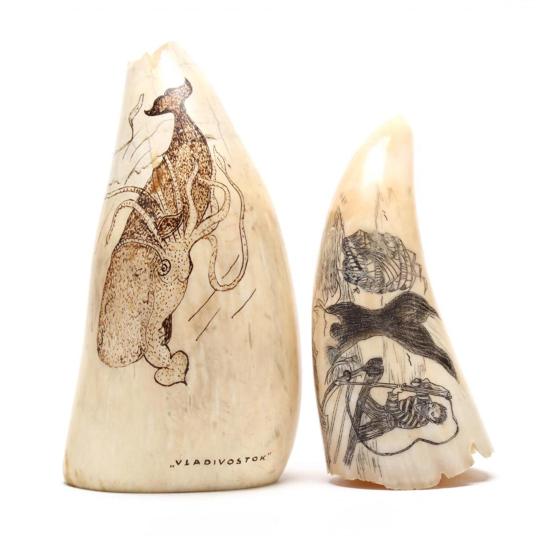 Two Vintage Scrimshaw Teeth
