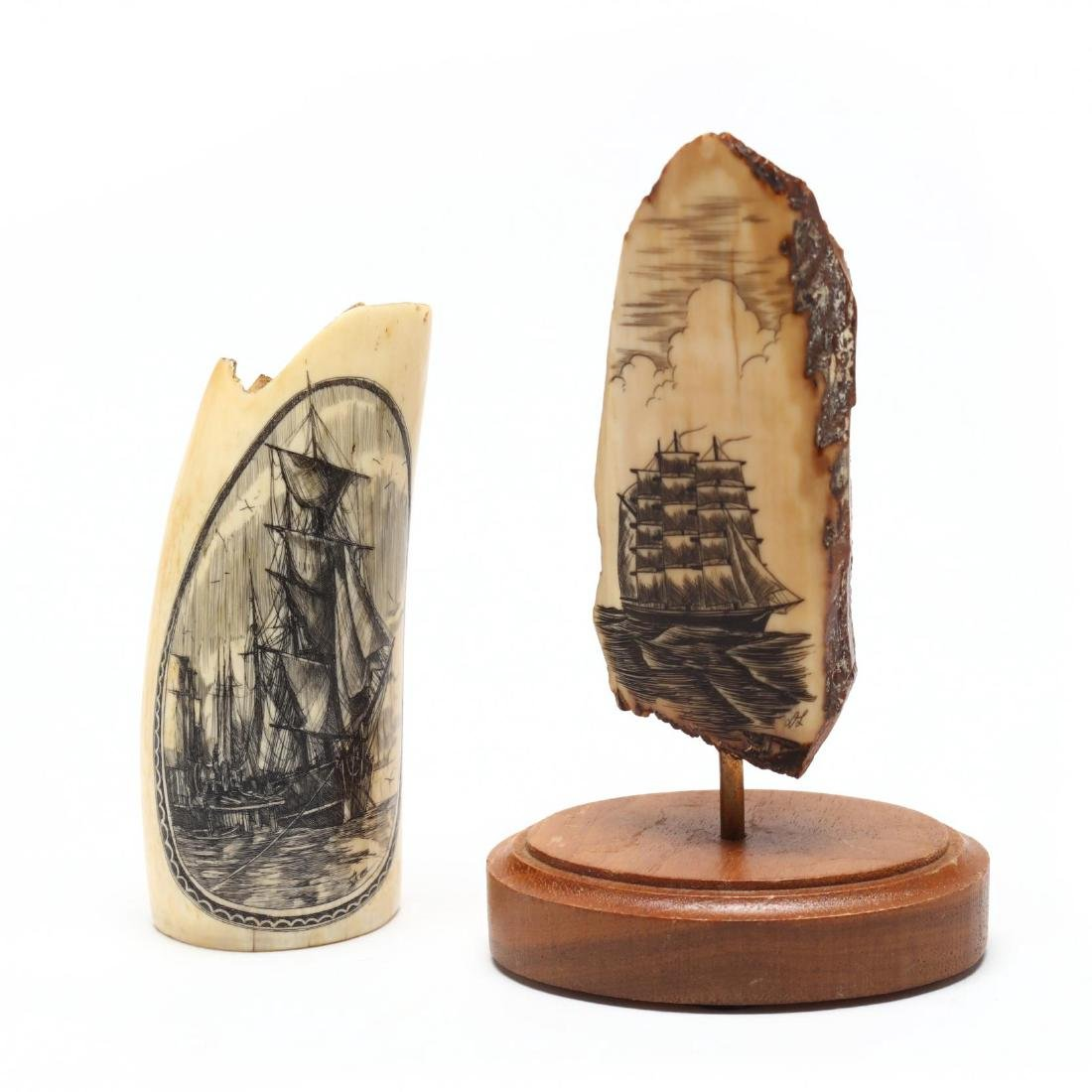 Two Signed Scrimshaw of Clipper Ships