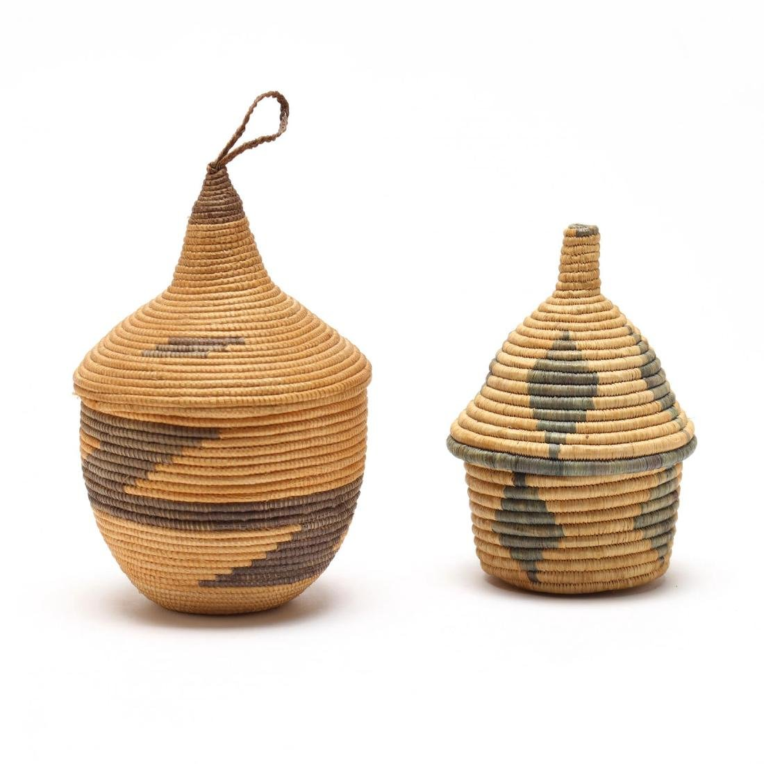 Two African Lidded Tutsi Baskets