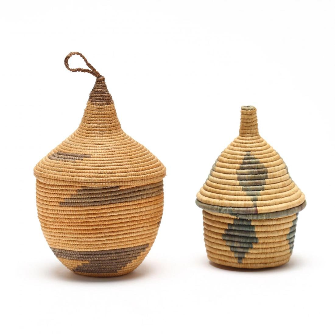 Two African Lidded Tutsi Baskets - 2