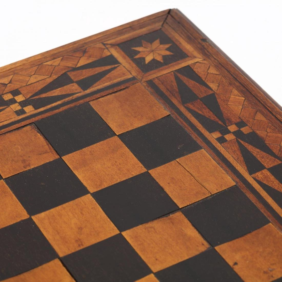Antique Folk Art Inlaid Game Board - 5