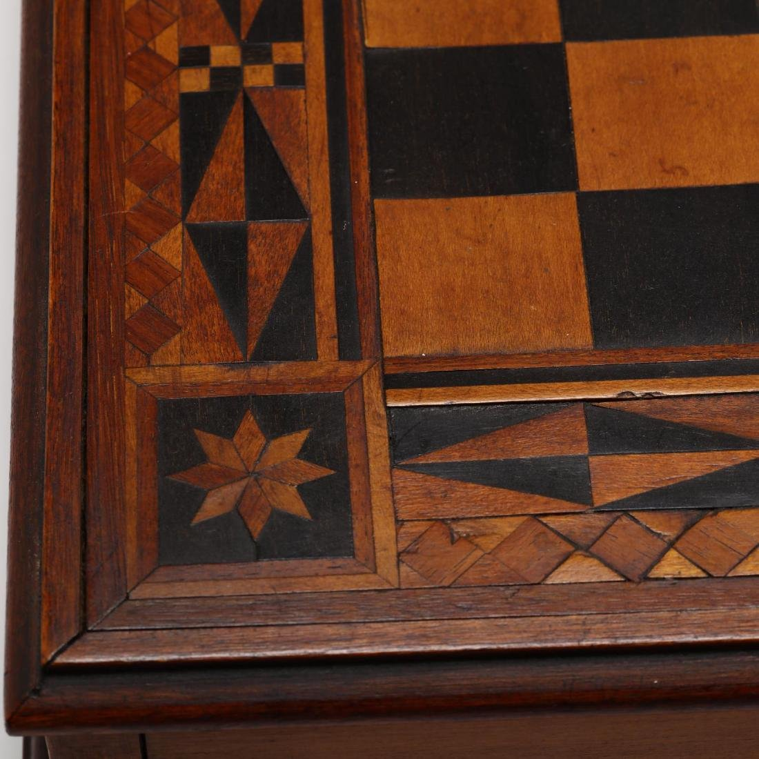 Antique Folk Art Inlaid Game Board - 6